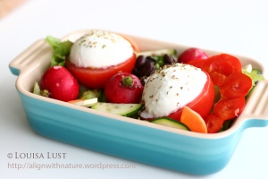 Salad with tomato halves topped with mazzarella cheese and sprinkled with oregano