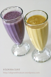 Blueberry, pineapple and banana shake (L); mango, banana and grapefruit shake (R)